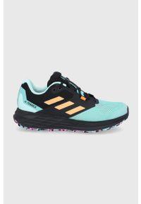 Turkusowe buty trekkingowe adidas Performance na sznurówki, Adidas Terrex, z cholewką, z okrągłym noskiem