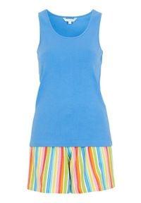 Cellbes Piżama w paski niebieski female ze wzorem/niebieski 46/48. Kolor: niebieski. Materiał: prążkowany, guma, bawełna. Wzór: paski