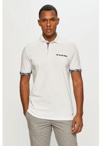 Biała koszulka polo PRODUKT by Jack & Jones casualowa, z nadrukiem, krótka, na co dzień