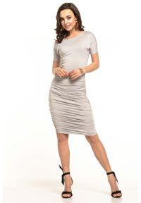 Tessita - Jasnoszara Dopasowana Midi Sukienka z Drapowaniami. Kolor: szary. Materiał: wiskoza, elastan, akryl. Długość: midi
