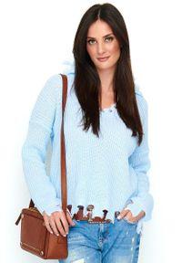 Niebieski sweter oversize Makadamia na co dzień, casualowy
