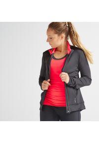 DOMYOS - Bluza fitness Domyos 100 na zamek damska. Kolor: wielokolorowy, czerwony, różowy, czarny. Materiał: poliester, materiał, elastan. Sport: fitness
