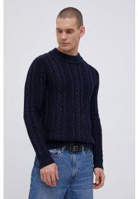 Premium by Jack&Jones - Sweter bawełniany. Kolor: niebieski. Materiał: bawełna. Długość rękawa: długi rękaw. Długość: długie. Wzór: ze splotem