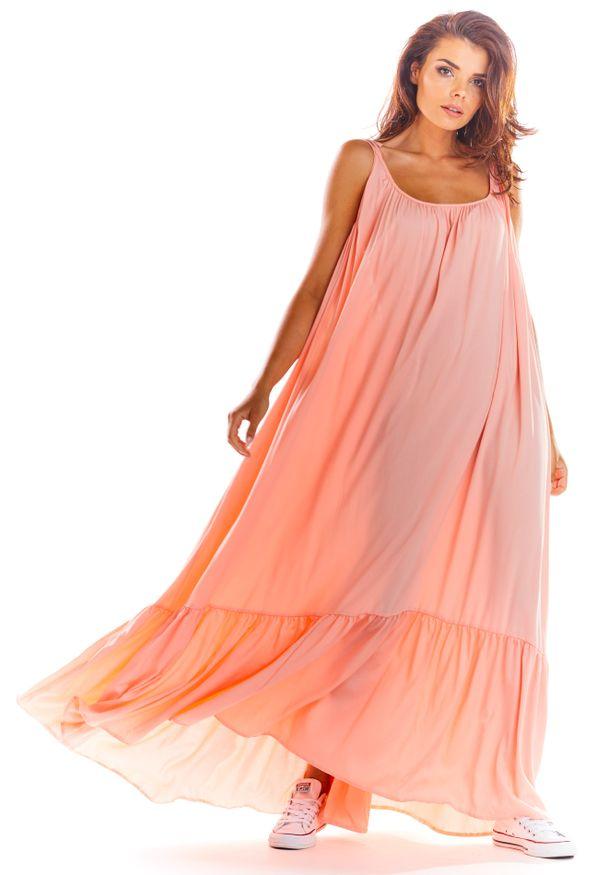 Różowa sukienka rozkloszowana Awama na lato, maxi