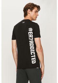 Czarny t-shirt EA7 Emporio Armani na co dzień, z okrągłym kołnierzem, casualowy, z nadrukiem