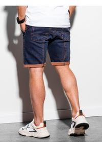 Ombre Clothing - Krótkie spodenki męskie jeansowe W219 - fioletowe - XXL. Kolor: fioletowy. Materiał: jeans. Długość: krótkie. Wzór: aplikacja
