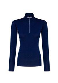 Niebieski sweter Descente z golfem, krótki, w kolorowe wzory