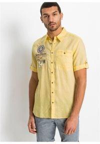 Koszula z lnem, krótki rękaw bonprix jasnożółty z nadrukiem. Kolor: żółty. Materiał: len. Długość rękawa: krótki rękaw. Długość: krótkie. Wzór: nadruk. Styl: wakacyjny #6