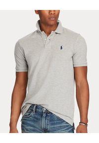 Ralph Lauren - RALPH LAUREN - Szara koszulka polo Slim Fit. Typ kołnierza: polo. Kolor: szary. Materiał: bawełna, prążkowany. Wzór: haft