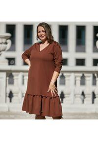 Brązowa sukienka dla puszystych Moda Size Plus Iwanek na jesień, z długim rękawem