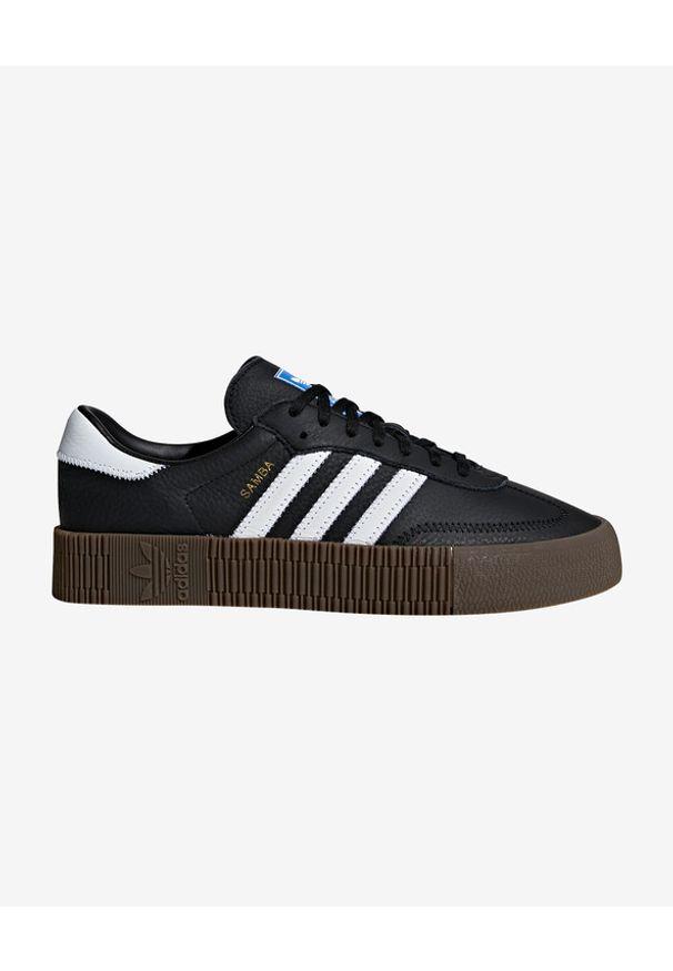 Czarne tenisówki adidas Originals w kolorowe wzory, na sznurówki, na platformie