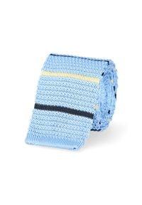 Niebieski krawat Lancerto casualowy, w paski, na co dzień