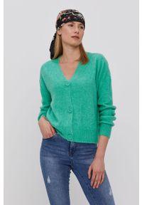 Zielony sweter rozpinany Vero Moda z długim rękawem, gładki, długi