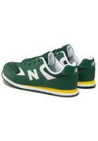 New Balance - Sneakersy NEW BALANCE - YC393BGR Zielony. Okazja: na uczelnię, na spacer, na co dzień. Kolor: zielony. Materiał: skóra, skóra ekologiczna, materiał. Szerokość cholewki: normalna. Styl: casual
