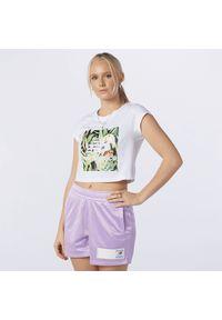New Balance WT11511WT. Materiał: tkanina, bawełna, jersey, materiał. Długość rękawa: krótki rękaw. Długość: krótkie. Wzór: nadruk, kwiaty
