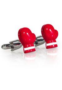 Adam Collection - Spinki do mankietów - czerwone rękawice bokserskie A176. Kolor: czerwony