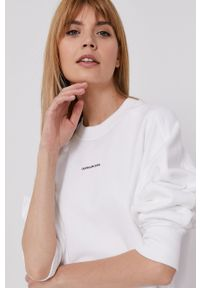 Calvin Klein Jeans - Sukienka. Okazja: na co dzień. Kolor: biały. Materiał: bawełna, dzianina. Długość rękawa: długi rękaw. Wzór: gładki. Typ sukienki: proste. Styl: casual