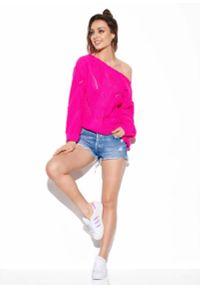 Różowy sweter oversize Lemoniade w ażurowe wzory