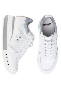 Białe buty sportowe Blauer na koturnie, na średnim obcasie