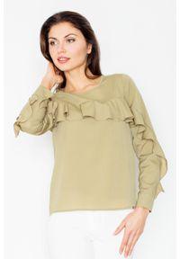 Zielona bluzka z długim rękawem Figl z falbankami, długa