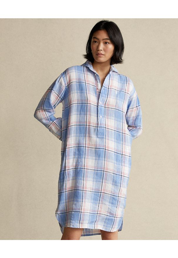 Ralph Lauren - RALPH LAUREN - Sukienka lniana w kratę. Typ kołnierza: polo. Kolor: biały. Materiał: len. Długość: długie