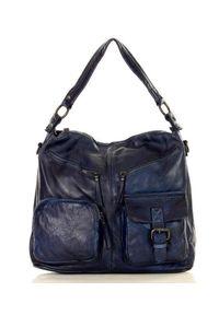 Niebieska torebka klasyczna na ramię, skórzana