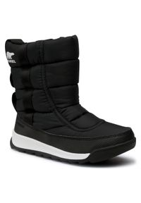 Czarne buty zimowe sorel z cholewką, na spacer