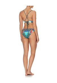 Camilla - CAMILLA - Dół od bikini z kryształami. Kolor: niebieski. Materiał: materiał. Wzór: aplikacja, paski