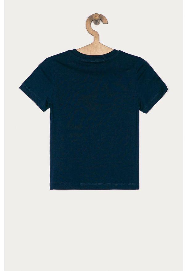 Niebieski t-shirt Calvin Klein Jeans na co dzień, z nadrukiem, casualowy