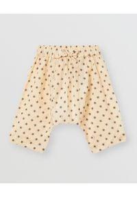 BURBERRY CHILDREN - Spodnie w gwiazdki 0-2 lata. Okazja: na co dzień. Kolor: brązowy. Materiał: bawełna. Wzór: paski, aplikacja. Sezon: lato. Styl: casual