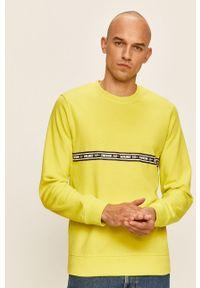 Żółta bluza nierozpinana Jack & Jones z nadrukiem, bez kaptura, na co dzień, casualowa