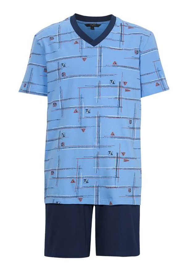 Cellbes Piżama we wzory granatowy male ze wzorem/niebieski S. Kolor: niebieski. Materiał: jersey, guma. Długość: krótkie