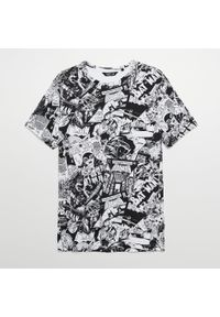 Biały t-shirt Cropp z motywem z bajki
