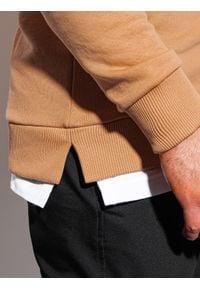 Ombre Clothing - Bluza męska bez kaptura B1217 - beżowa - XXL. Typ kołnierza: bez kaptura. Kolor: beżowy. Materiał: bawełna, poliester