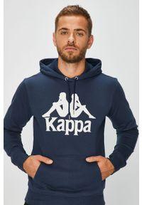 Niebieska bluza nierozpinana Kappa z kapturem, na co dzień, casualowa, z nadrukiem