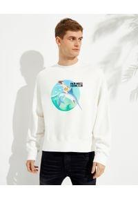 PALM ANGELS - Biała bluza z nadrukiem Fishing Club. Kolor: biały. Materiał: bawełna. Długość rękawa: długi rękaw. Długość: długie. Wzór: nadruk