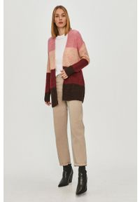 Różowy sweter rozpinany Vero Moda casualowy, na co dzień