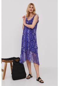 Nissa - NISSA - Sukienka. Kolor: fioletowy. Materiał: tkanina. Długość rękawa: na ramiączkach. Typ sukienki: rozkloszowane
