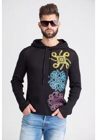 Sweter Just Cavalli z kapturem, z nadrukiem
