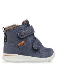 Niebieskie buty zimowe ecco z cholewką