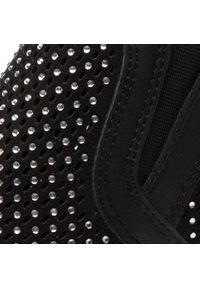 Czarne buty sportowe Jenny Fairy na koturnie, z cholewką, z aplikacjami, na co dzień