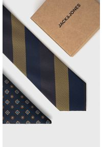 Jack & Jones - Krawat i poszetka. Kolor: niebieski. Materiał: materiał, poliester