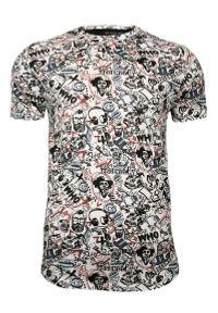 Biały T-Shirt (Koszulka) z Nadrukiem -Brave Soul- Męski, Broda, Fajka, Znaki, 100% Bawełna. Okazja: na co dzień. Kolor: biały. Materiał: bawełna. Wzór: nadruk. Styl: casual