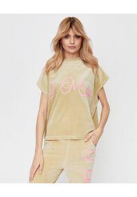 JOANNA MUZYK - Oliwkowa bluzka z aksamitu. Kolor: beżowy. Materiał: dresówka