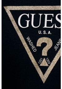 Niebieska bluzka Guess Jeans na co dzień, casualowa, z nadrukiem