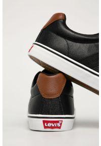 Czarne sneakersy Levi's® z okrągłym noskiem, na spotkanie biznesowe, z cholewką, na sznurówki