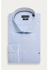 Niebieska koszula Tommy Hilfiger Tailored z włoskim kołnierzykiem, na co dzień