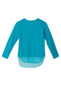 Niebieska bluzka bonprix długa, z długim rękawem, z nadrukiem