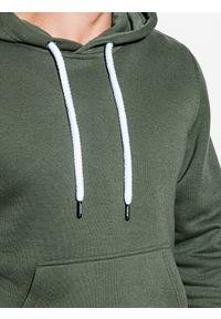 Ombre Clothing - Bluza męska z kapturem B979 - khaki V - XXL. Typ kołnierza: kaptur. Kolor: brązowy. Materiał: bawełna, poliester. Styl: klasyczny