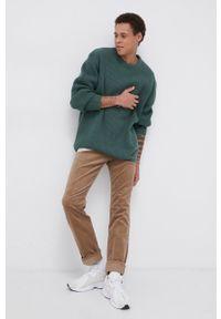 Levi's® - Levi's - Sweter wełniany. Okazja: na spotkanie biznesowe. Kolor: zielony. Materiał: wełna. Długość rękawa: długi rękaw. Długość: długie. Wzór: ze splotem. Styl: biznesowy